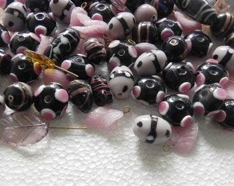 one Pound awesome LAMPWORK BEADS/ Indian Beads/small leaves/  handmade mix  Assorted.