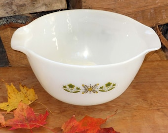 Fire King Green Meadow Mixing Serving Bowl Two Quarts Milk Glass Vintage 1967 Mid Century Country Kitchen Bake Ware