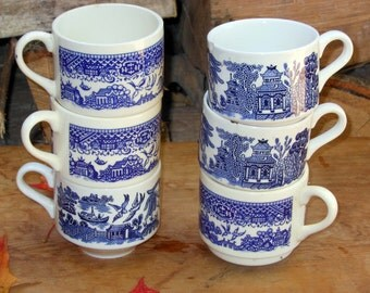 Blue Willow Stacking Coffee Cup Mug Teacup Set Of Six Deep Cobalt Blue Vintage 1950s Country Kitchen Decor