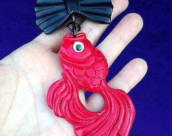 Gone Fishing Novelty Brooch - Bow Dangle Pin Koi Fish Googly Eyes - Hand Cast Resin Plastic