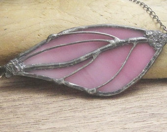Stained Glass Statement Necklace - Pink Leaf