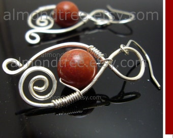 Razzle Dazzle, wire wrapped   red   earrings   id1120652   handmade   jewelry   jewellery   wire earrings   wire work   metal   gift for her