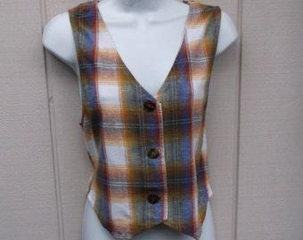 ON SALE 90s Vintage Brown Shadow Plaid Vest / Cotton Flannel Waistcoat Crop Top // Size Sml