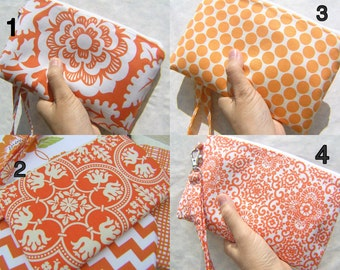 Wedding Clutch, wristlet,2 pockets gift pouch,medium,orange,cotton,discount plan, wristlet, zipper