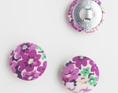 Fabric Buttons 1 Inch | 3 Fabric Covered Buttons | 25mm Floral Fabric Shank Buttons | Purple Flower Buttons