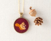 Squirrel Embroidered Wool Felt Necklace - Animal Portrait - Circle Pendant - Burgundy Red