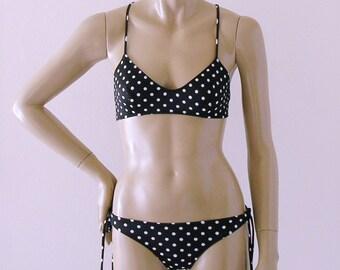 X-Back Ballet Top and Tie Bottom Bikini in Black Polka Dot in S.M.L.XL