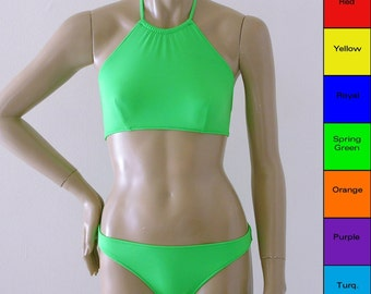 High Neck Halter Bikini Swimsuit in Red, Yellow, Blue, Green, Orange, Purple, Turquoise