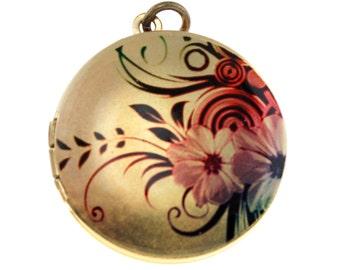 Photo Locket, Image Locket, Art Locket, Picture Locket, Brass Locket - Floral Spray