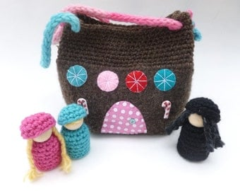 Hansel and Gretel play set felted wool bag