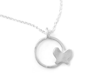 Circle Butterfly Necklace with Bright WhiteFinish