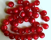 20 Inch Strand Red Lucite Moonglow Beads