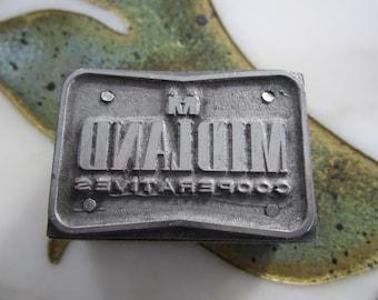 Midland Cooperatives Vintage Letterpress Printers Block