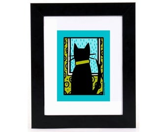 Black Cat Window Watcher 8x10 Art Print