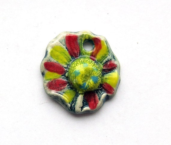 Handmade Ceramic Pendant Daisy Head with Textured edges Mary Harding