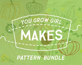 "Makes: Embroidery Pattern Bundle - ""Tomatoes Worth Growing"" and ""Winter Squash Worth Growing"""