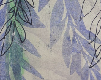 Willows 5 - polyester lithograph monoprint of Willow leaves - 5  x 4.5 inches