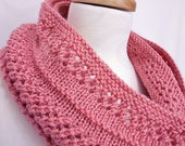 Infinity Scarf - Coral Pink Hand Knit Scarf - Ready to Ship