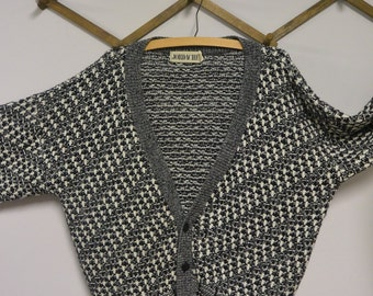 Jordache Mens Cardigan Black and White   1980s Vintage Sweater   Size Large