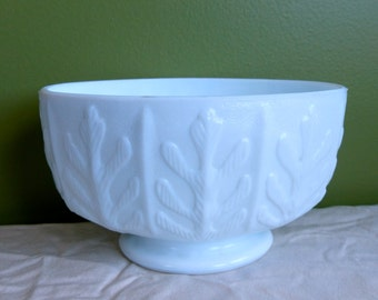 Vintage 1970's Milk Glass FTD Oval Footed Bowl-Oak Pattern