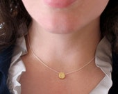 Gold Dot Necklace, Delicate Everyday Necklace, Gold Vermeil Disk, Sliding Disc Charm, Minimalist Jewelry, Layering Piece