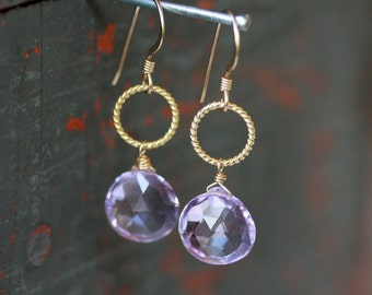 Light Amethyst Gold Earrings Gemstone Drops Pastel Dangle Nautical Circle Gold Vermeil Handmade Jewelry