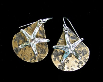 Starfish Earrings Sterling Silver and Textured Antiqued  Brass