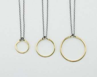 Circle Necklace with Mixed Metals, 14k Gold Fill or Sterling Silver - Black and Gold - Large Circle Necklace - Simple Jewelry