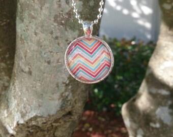 Glass pendant necklace pastel zigzag chevron - round -silver