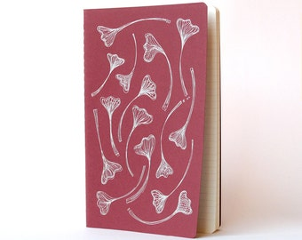 Moleskine Gingko Leaves .  Red Cover . Large Notebook Journal . Ruled Pages . Pearl Ink . Nature Drawing Hand Screenprinted