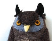 Brown Wool Owl doll textured pillow softie plush