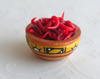 Native American Style Hand Painted Wooden Bowl full of Hot Chilies - IGMA Artisan Diane Paone