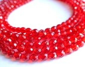 CUSTOM- The Rebecca- Red Czech Crystal Statement Necklace