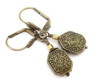 Bohemian Earrings, Steampunk Art Deco Design, Vintage Style Dangle Drop, Antiqued Golden Lever Back or Clip On, Ornate Dainty Earrings
