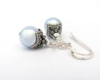 Pearl Earrings, Blue Pearl Earrings, Sterling Silver Earrings, Swarovski Earrings, Bridesmaid Jewelry, Wedding Jewelry, Blue Bridesmaid