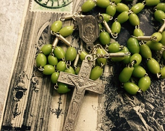 VINTAGE GLASS ROSARY Handblown Aged Olive Green