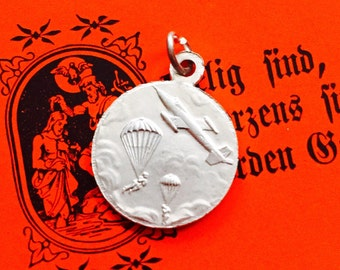 French ST. MICHAEL MEDAL Vintage Archangel Patron of Paratroopers