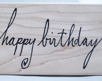 calligraphy happy birthday rubber stamp