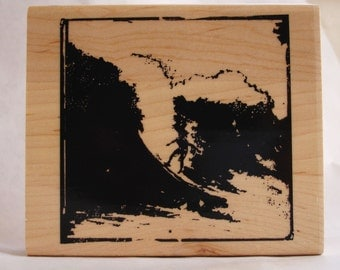 surfer on wave woodcut collage rubber stamp