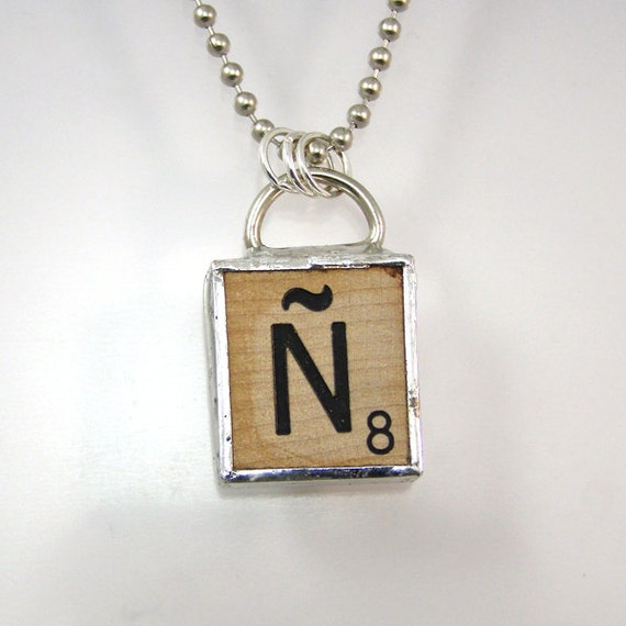 Spanish Scrabble Letter N Pendant Necklace