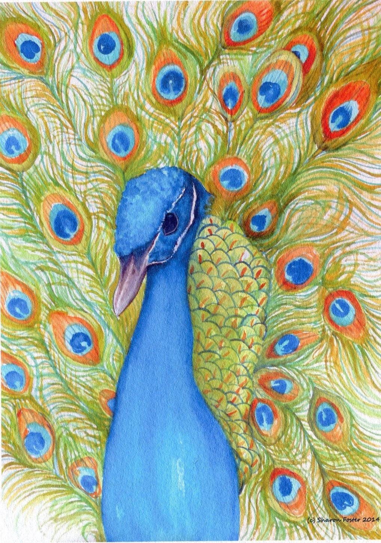 Peacock Print from my original painting watercolor Bird