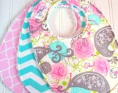 Baby Bibs for Baby Girl -  Set of 3 Triple Layer Chenille - Picadilly Floral, Mint Aqua Chevron & Pink Quatrefoil