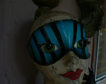 Blue and Black striped leather mask, vintage circus, masquerade mask