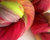Outlaw batts , red, orange, brown, green, merino smooth