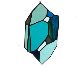 Crystal Stained Glass Sun Catcher - An Original Design in Turquoise Glass - Decor for your Bohemian Home