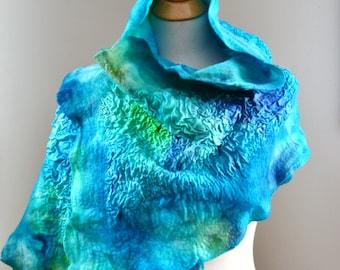 Nuno Felted Scarf Colorful Merino Wool and Silk Fabric