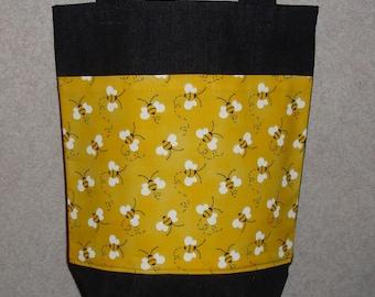 New Small Handmade Bumble Bee Denim Tote Bag