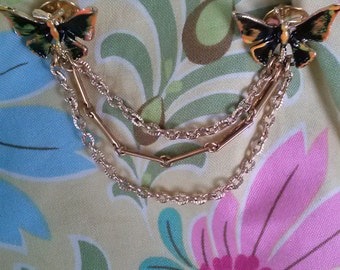 Vintage 1960s Sweater Guard Butterfly Gold Chain 201543