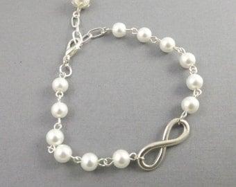 White Pearl Infinity Bridesmaids Bracelet