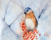 Bluebird Waiting - Original Blue Bird Painting